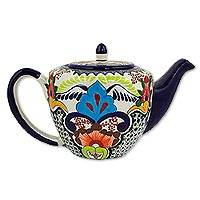 Ceramic teapot, 'Blue Teziutlan' - Colorful Mexican Talavera Style Teapot with Blue Borders
