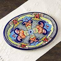 Oval ceramic platter, 'Blue Teziutlan' - Handcrafted Multicolor Lead Free Mexican Puebla Cobalt Blue
