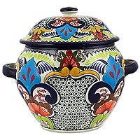 Ceramic tureen, 'Florid Garden' - Hand Crafted Ceramic Soup Tureen from Mexico