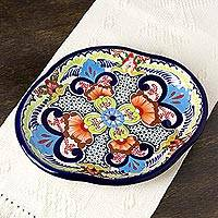 Ceramic platter, 'Blue Teziutlan' - Handcrafted Multicolor Lead Free Mexican Puebla Cobalt Blue