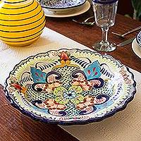 Ceramic serving bowl, 'Blue Teziutlan' - Handcrafted Multicolor Lead Free Mexican Puebla Cobalt Blue