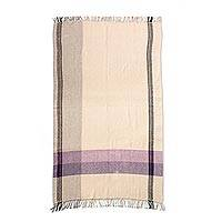 Cotton throw, 'Jacaranda Breeze' - Handwoven Beige with Purples Cotton Throw from Mexico