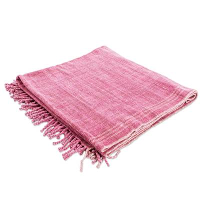 Handwoven Mexican Cotton Throw in Rose on Sandy Beige