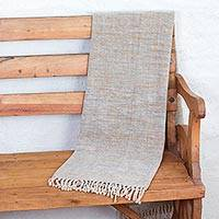 Cotton throw blanket, 'Hidalgo Breeze' - Handwoven Cotton Throw Blanket in Blues and Browns