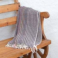 Cotton throw blanket, 'Subtle Vibrance' - Artisan Crafted Striped 100% Cotton Throw with Fringe