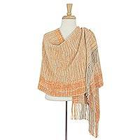 Cotton rebozo shawl, 'Hidalgo Sun' - Mexican Rebozo Shawl Hand Woven Cotton with Natural Dyes