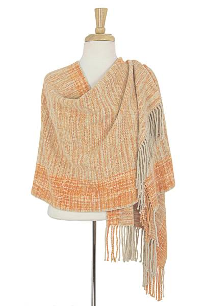 Mexican Rebozo Shawl Hand Woven Cotton with Natural Dyes, 'Hidalgo Sun'