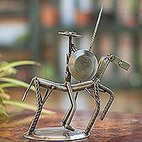 Auto part sculpture, 'Eco Friendly Quixote' - Recycled Metal and Auto Part Don Quixote Sculpture
