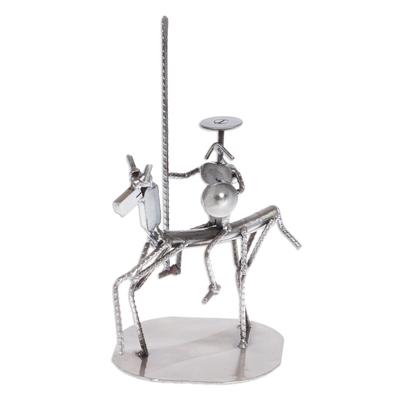 Auto part sculpture, 'Eco Friendly Quixote' - Recycled Metal and Auto Part Don Quixote Sculpture