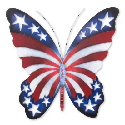 Steel wall art, 'Freedom is Fragile' - Star Spangled Steel Butterfly Wall Art from Mexico