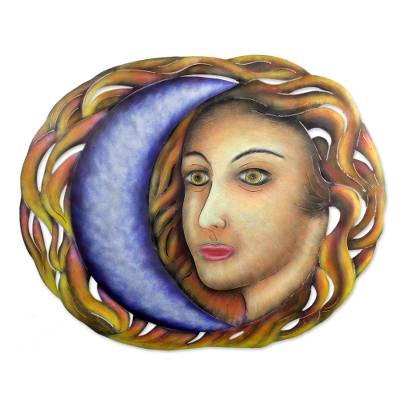 Steel wall art, 'Celestial Vanity' - Modern Face and Moon Steel Wall Sculpture from Mexico