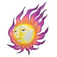 Steel wall art, 'Messenger Sun' - Colorful Steel Wall Art Sun Sculpture Hand Crafted in Mexico