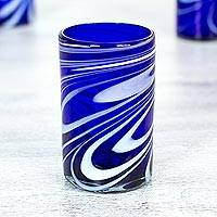 Blown glass water glasses, 'Whirling Cobalt' (set of 6) - 6 Mexican Hand Blown Blue-White 15 oz Water Glasses
