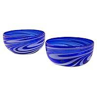 Blown glass bowls, 'Whirling Cobalt' (pair) - 2 Hand Blown 5-Inch Blue-White Glass Bowls from Mexico