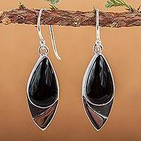 Obsidian dangle earrings, 'Night's Edge'