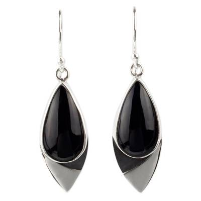 Contemporary Obsidian Earrings in Taxco 950 Silver