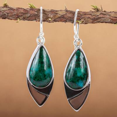 Chrysocolla dangle earrings, Oceans Edge