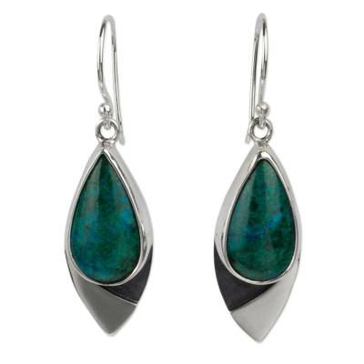 Mexican Contemporary Chrysocolla Earrings in Taxco Silver