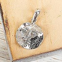 Sterling silver pendant, 'Face of the Moon' - Signed Artisan Crafted Unisex Sterling Silver Moon Pendant