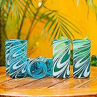 Blown glass highball glasses, 'Whirling Aquamarine' (set of 6)