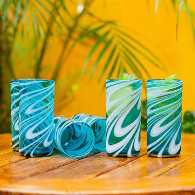 Blown glass highball glasses, 'Whirling Aquamarine' (set of 6) - 6 Hand Blown 13 oz Aqua-White Highball Glasses from Mexico