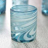 Blown glass rock glasses, 'Whirling Aquamarine' (set of 6) - 6 Mexican Hand Blown 11 oz Rock Glasses in Aqua and White