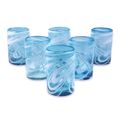 white swirl water glasses