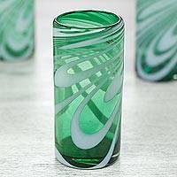 Blown glass highball glasses, 'Whirling Emerald' (set of 6) - Set of 6 Green and White Hand Blown 13 oz Highball Glasses