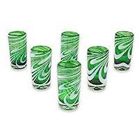Blown glass shot glasses, 'Whirling Emerald' (set of 6) - Set of 6 Green and White Hand Blown Shot Glasses