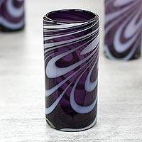 Blown glass highball glasses, 'Whirling Plum' (set of 6) - Set of 6 Purple and White Hand Blown 13 oz Highball Glasses