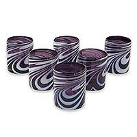 Blown glass rock glasses, 'Whirling Plum' (set of 6) - Set of 6 Purple and White Hand Blown 11 oz Rock Glasses