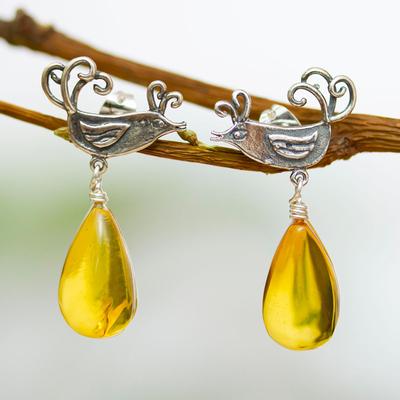 Amber dangle earrings, 'Flirty Birds' - Sterling Silver Bird Earrings with Amber Droplets
