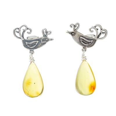 Sterling Silver Bird Earrings with Amber Droplets