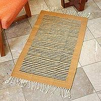 Zapotec wool rug, 'Desert Horizon' (2x3.5) - Authentic Zapotec 2x3.5 Handwoven Accent Rug in Browns