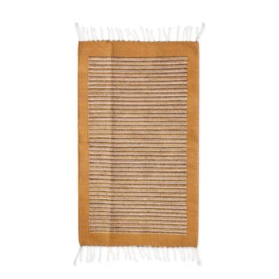 Authentic Zapotec 2x3.5 Handwoven Accent Rug in Browns