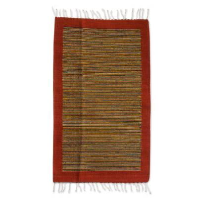 Zapotec wool rug, 'Vibrant Horizon' (2x3.5) - Authentic Zapotec Handwoven Accent Rug (2 x 3.5)