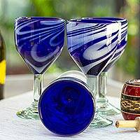 Blown glass wine glasses, 'Whirling Cobalt' (set of 6) - 6 Hand Blown 10 oz Blue-White Wine Glasses from Mexico