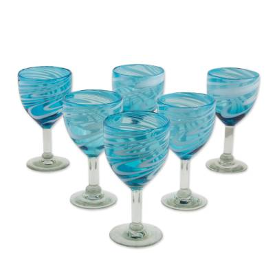 Blown glass wine glasses, Whirling Aquamarine (set of 6)