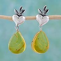 Amber heart earrings, 'Fern Hearts' - Heart Sterling Silver Earrings with Amber Droplets