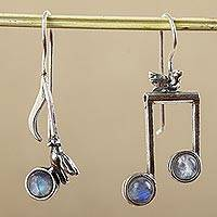 Moonstone drop earrings, 'Bird Songs'