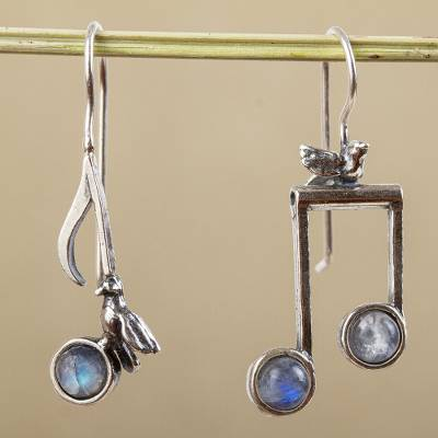 Moonstone drop earrings, 'Bird Songs' - Sterling Silver Musical Bird Earrings with Moonstone