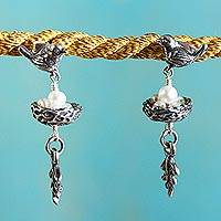 Cultured pearls dangle earrings, 'Canary Story'