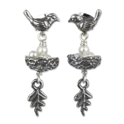 Cultured pearls dangle earrings, 'Canary Story' - Sterling Silver Bird Earrings with Pearl Eggs in Nest
