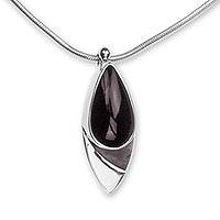 Obsidian pendant necklace, 'Night's Edge' - Obsidian Pendant Necklace in Taxco Silver from Mexico