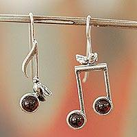 Amethyst drop earrings, 'Bird Songs' - Sterling Silver Musical Notes Bird Earrings with Amethyst
