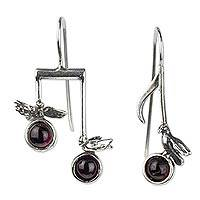 Garnet drop earrings, 'Bird Songs' - Sterling Silver Musical Notes Bird Earrings with Garnet