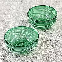 Blown glass bowls, 'Whirling Emerald' (pair) - Green and White Mexican Hand Blown 11 oz Glass Bowls (Pair)