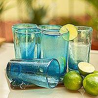 Blown glass highball glasses, 'Aquamarine Bubbles' (set of 6) - Set of 6 Aquamarine Hand Blown 15 oz Highball Glasses