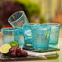 Blown glass juice glasses, 'Aquamarine Bubbles' (set of 6) - Set of 6 Aquamarine Hand Blown 10 oz Juice Glasses