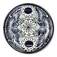 Ceramic dinner plates, 'Blue Colonial Blossom' (pair) - Mexican Hand Painted 11-Inch Ceramic Dinner Plates (Pair)